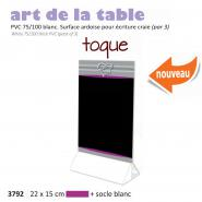 Paquet de 3x Chevalet table 22x15cm  Toque  violet + socle blanc