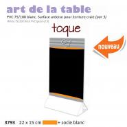 Paquet de 3x Chevalet table 22x15cm  Toque  orange + socle blanc