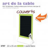 Paquet de 3x Chevalet table 22x15  Couverts  vert + socle blanc