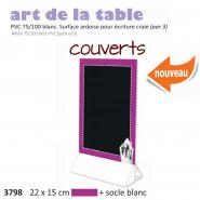 Paquet de 3x Chevalet table 22x15  Couverts  violet + socle blanc