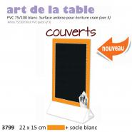 Paquet de 3x Chevalet table 22x15  Couverts  orange + socle blanc